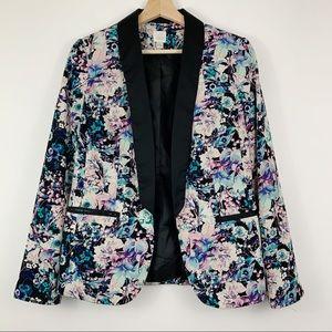 LC Lauren Conrad Floral Blazer 6 Lightweight Black
